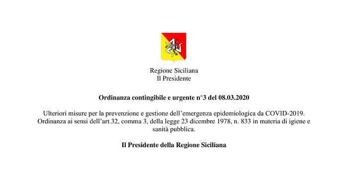 Ordinanza del Presidente della Regione Siciliana n° 3 dell'8 Marzo 2020